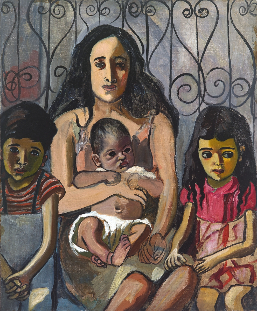 """The Spanish Family"" by Alice Neel, 1943. Oil on canvas, 34 by 28 inches. ©The Estate of Alice Neel."