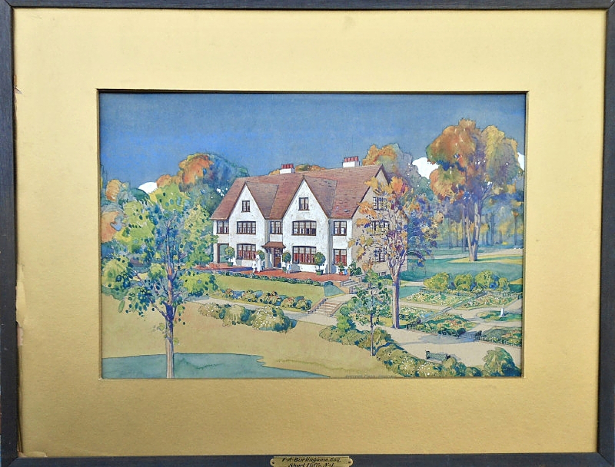 This architectural rendering in gouache of a Richardsonian mansion by architect Arthur C. Nash was one of a few sales transacted by Michael Pheffer, Two Sides of a River Antiques, New London, N.H.