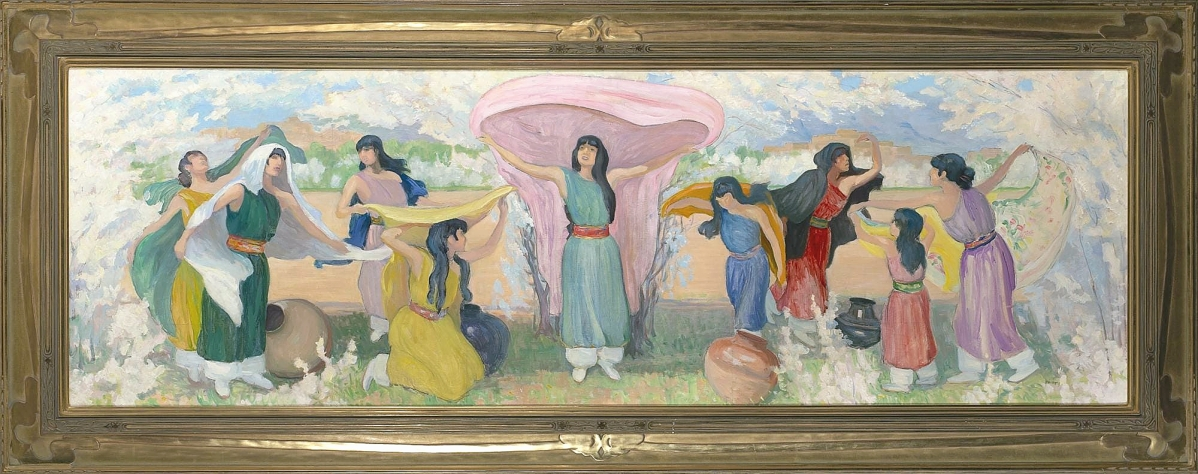 """The top lot of either day was """"After The Ceremony"""" by Bert Geer Phillips (1868-1956), a 24- -by-75½-inch oil on board that brought $75,000. According to the artist's son, the painting depicts Pueblo women amid the plum blossom bloom, a visual enjoyed right now in Santa Fe."""