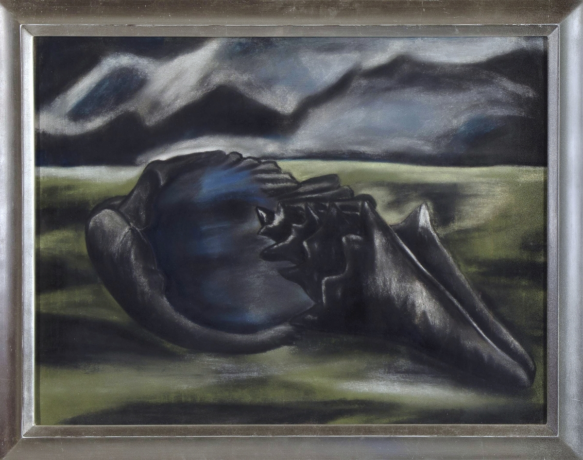 """Dark and ominous was this still life of a shell in a desert landscape by Rebecca Salsbury James (1891-1968). The pastel, titled """"Shell in Landscape,"""" sold for $36,900."""
