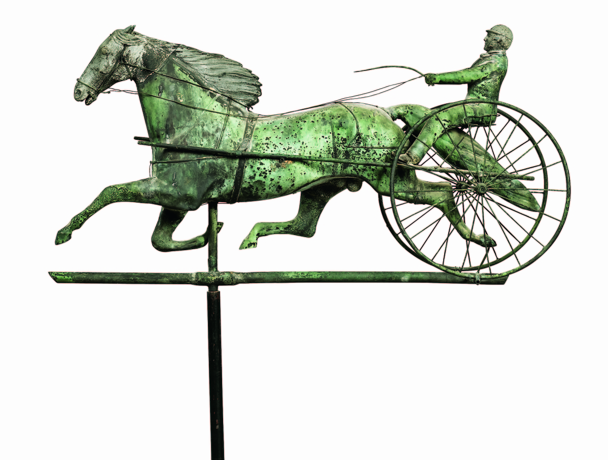 There were a number of good weathervanes in the sale. This unusually small horse with sulky and driver was only 29 inches long. The horse's mane was cast zinc, as was the head, and it realized $23,750.