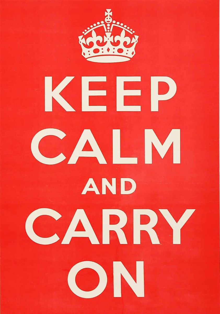 """""""It had significant damage but was well restored and was 'ready to go.'"""" Despite being an iconic image, the """"Keep Calm and Carry On"""" poster was rarely used and few come to auction. This example, which is a larger format, sold to a buyer in the United Kingdom, who was bidding by phone, for $7,735."""