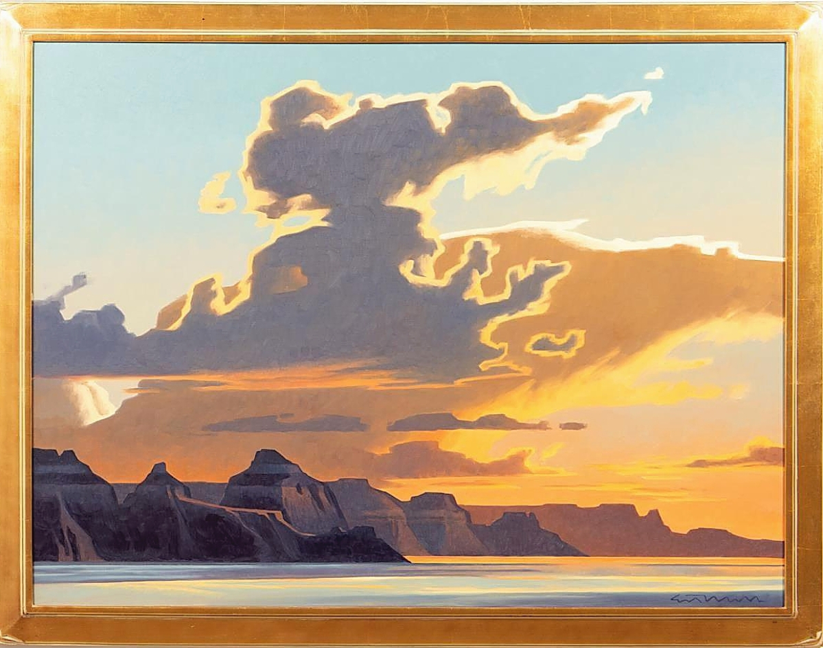 """The house had featured """"Western Landscape"""" by Ed Mell (American, b 1942) in its presale advertising and was pleased at how well it did. A phone bidder from the United States pushed it to $39,325 ($8/12,000)."""