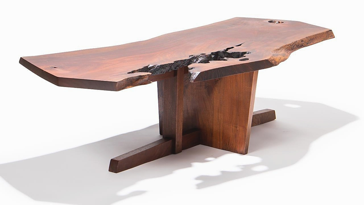 """The highest price realized for one of five pieces made by and acquired directly from George Nakashima was this walnut """"Minguren"""" coffee table, which sold to an American buyer, bidding online, for $72,300 ($20/30,000)."""