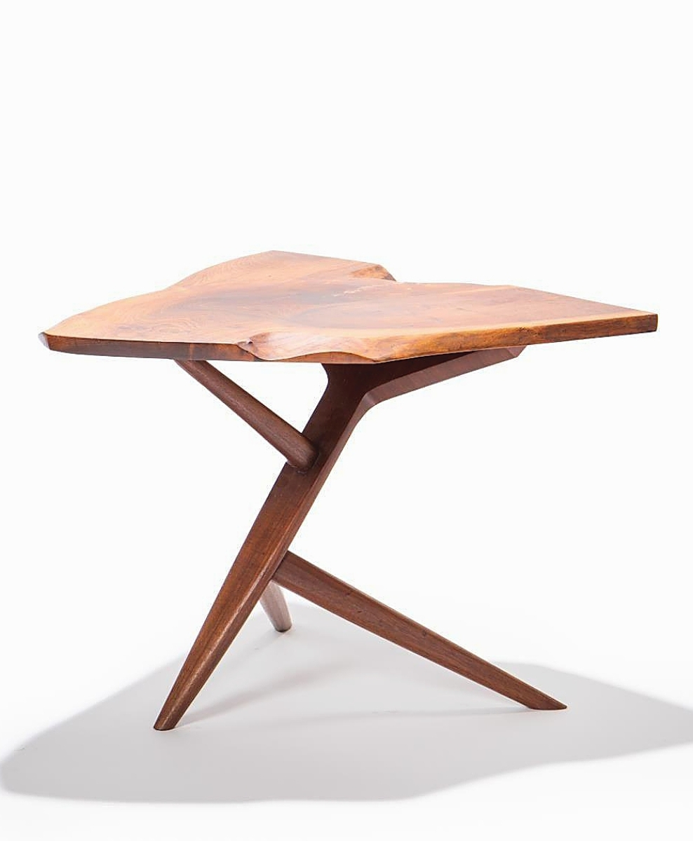"""This Nakashima """"Conoid"""" cross-legged side table, 1967, sold online to an American buyer for $27,225 ($12/18,000)."""