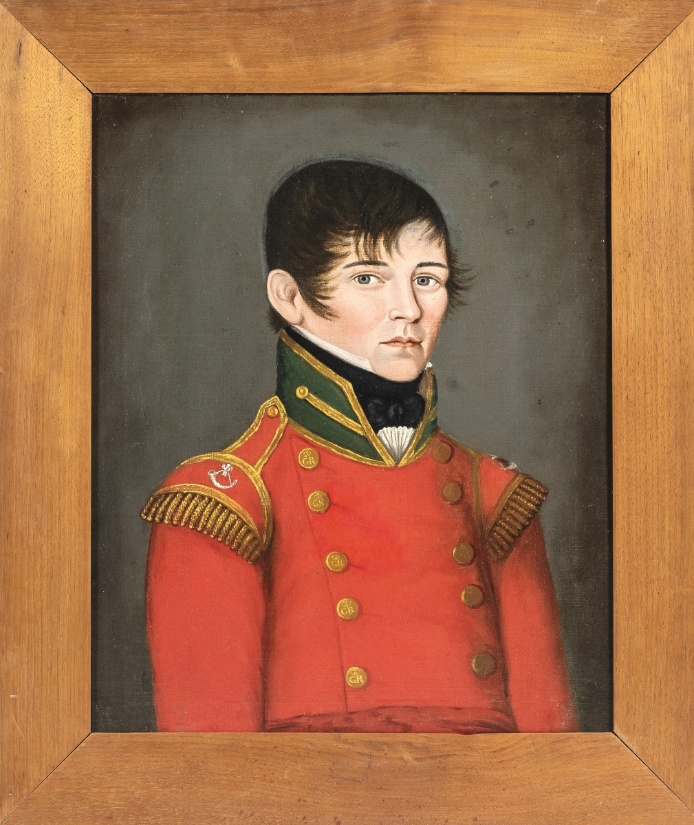 """It would have looked good with the furniture in this sale and realized $22,500. This unsigned portrait of a Canadian military officer, Robert Richardson, was inscribed on the reverse """"Robt. Richardson's Portrait/taken the 21 day of May/Montreal in the year/1814."""""""