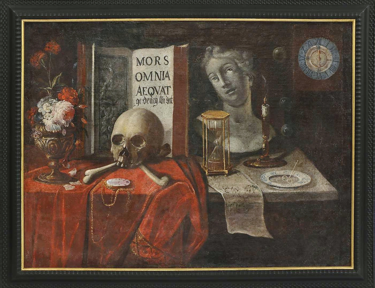 """""""It was very big, a statement piece if you will,"""" Mark Wilkinson said of this Seventeenth Century German School memento, more still life painting, which depicted all manner of death-related implements. An absentee bid, left by a bidder in the United Kingdom, was enough to take it for $7,438, the third highest price in the sale."""