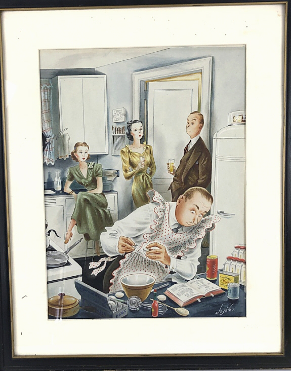 Modestly estimated $200/300, an original watercolor illustration by Constatin Alajálov (Armenian-American, 1900-1987) for the April 13, 1946, edition of the Saturday Evening Post topped off at $18,750.