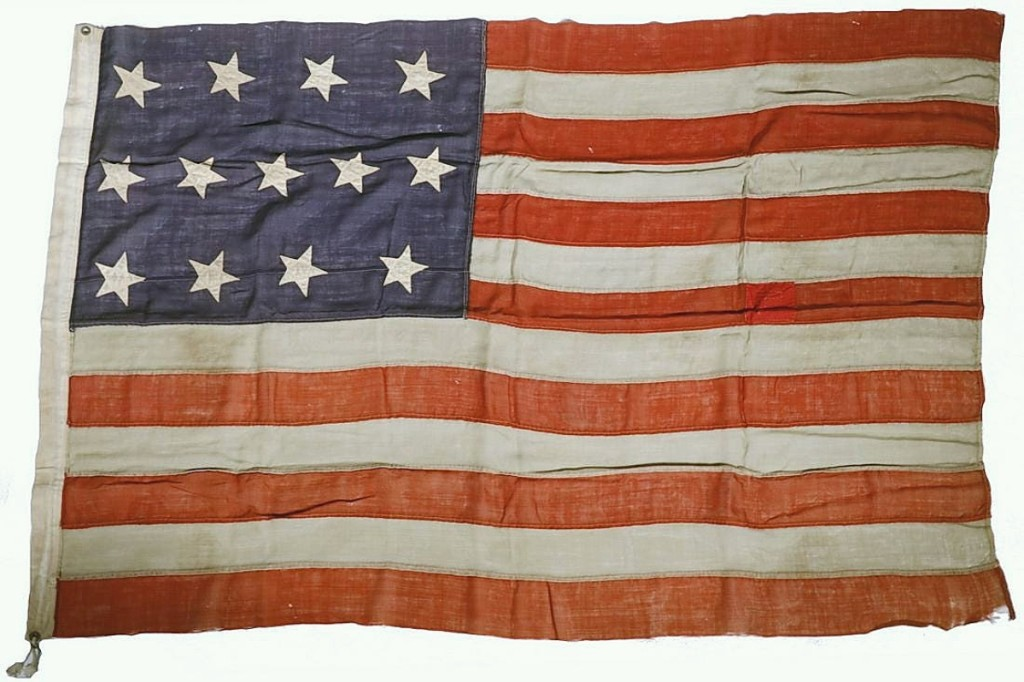 """Bidders waved their proverbial paddles for this United States Centennial Flag but a buyer from Pennsylvania ran it up to $1,320. It was described in the catalog as """"scarce"""" and replicated the 1781 Fort Independence Flag ($600/800)."""