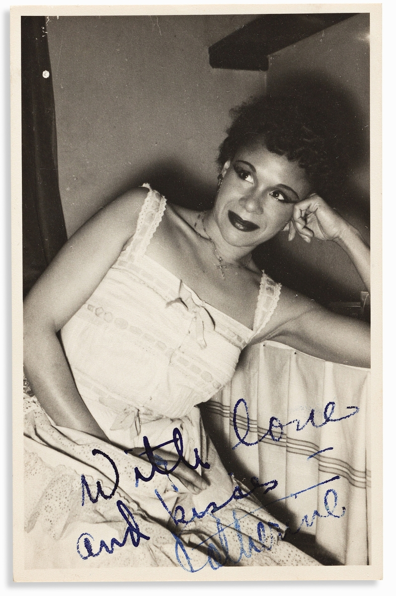 A total of $52,500, the second highest price of the sale, was paid for about 85 items relating to modern dance star Katherine Dunham. The lot included numerous photographs and, of most interest, a 42-page diary she kept while in Tokyo in 1958. A second lot composed of her letters to a close friend brought $35,000. Taken together, the selling prices were nearly six times above their combined estimates.