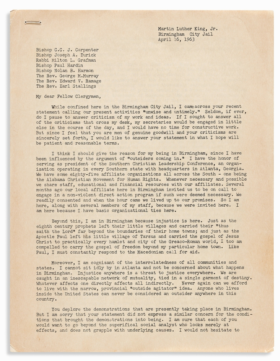 """By far the highest priced item in the sale was a pre-publication draft of Martin Luther King's """"Birmingham Jail Letter,"""" which sold for $185,000. King wrote the letter, which urged non-violent civil disobedience, while in the Birmingham jail in 1963. He had been arrested along with other leaders of the Southern Christian Leadership Conference during a peaceful demonstration but remained in jail for eight days."""