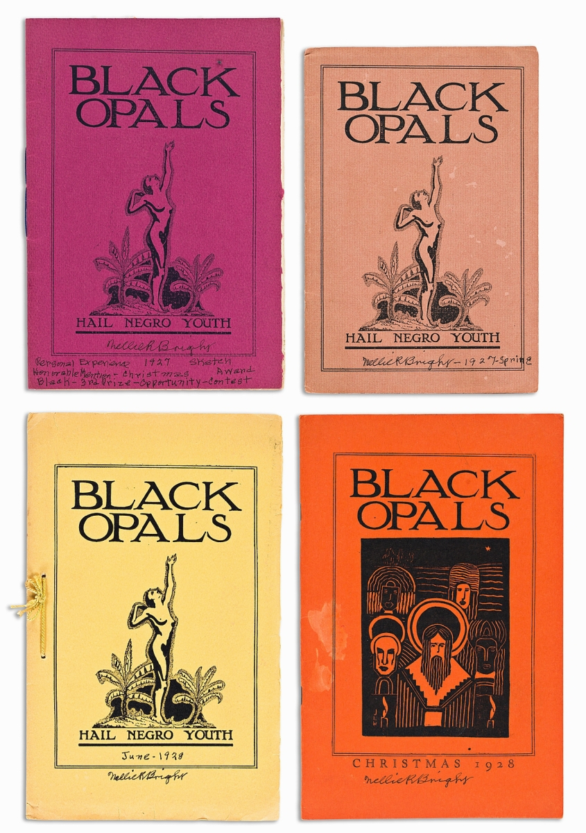 """Only two other complete runs of Black Opals, a short-lived literary magazine, are known to exist. Tied closely to the Harlem Renaissance, the magazine, subtitled """"Hail Negro Youth,"""" featured works by leading """"New Negro"""" authors. The four issues sold for $45,000, far above the estimate."""