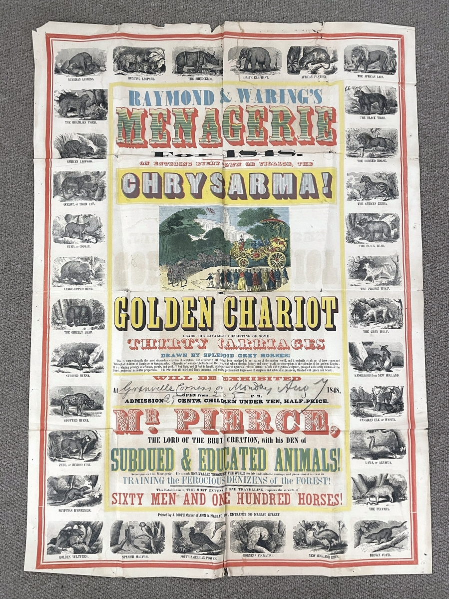 Testimony to a New York City printer's stock of display caps, animal relief cuts and colored inks, this bright, color-printed 1848 circus poster surprised by finishing at $19,200.