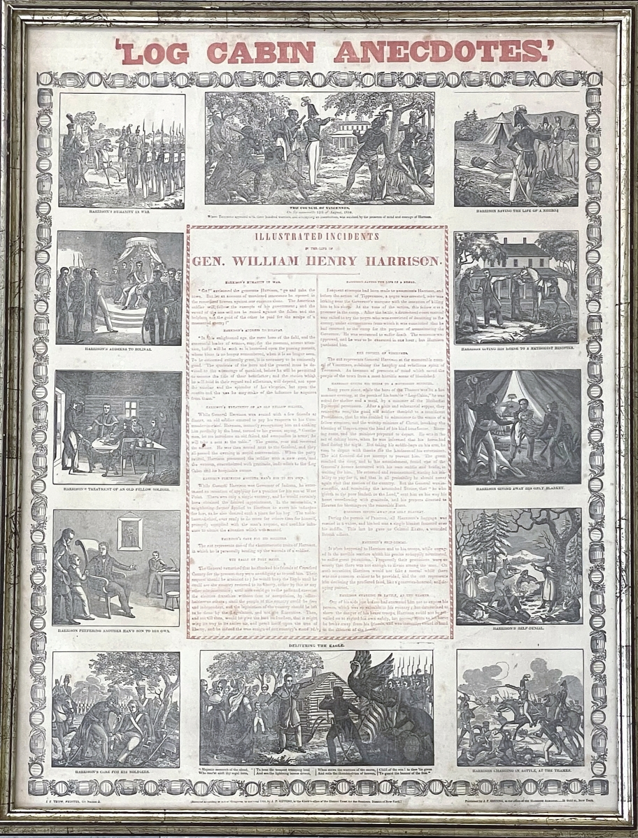 A choice broadside in the sale was a large, two-color extensively illustrated campaign broadside promoting Whig Party nominee Gen. William Henry Harrison's successful 1840 campaign against incumbent President Martin Van Buren. It went out at $8,280.
