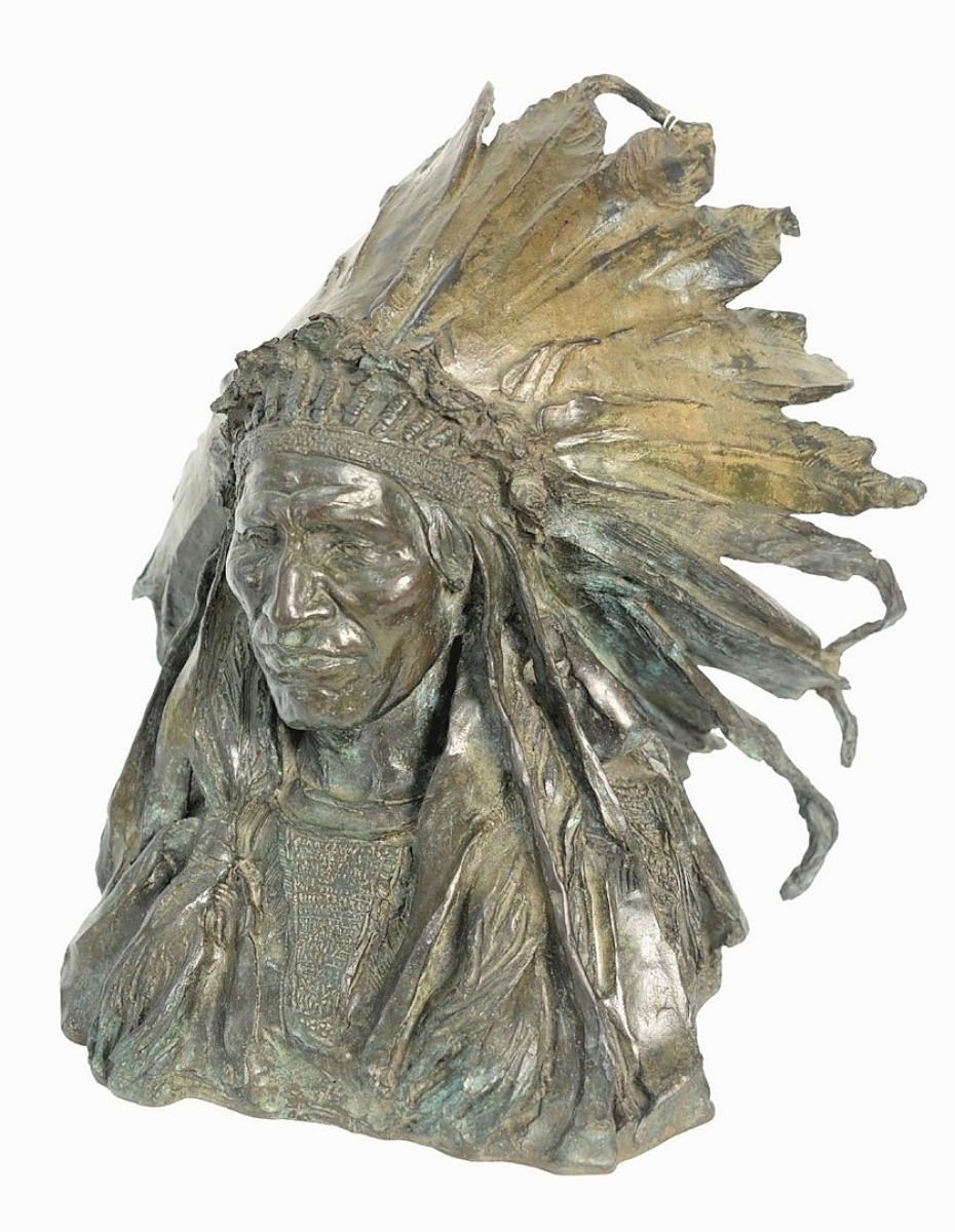 """After Adolph Alexander Weinman (1870-1952), """"Chief Blackbird Oglala Sioux,"""" a bronze with black patina, rose to $39,975."""