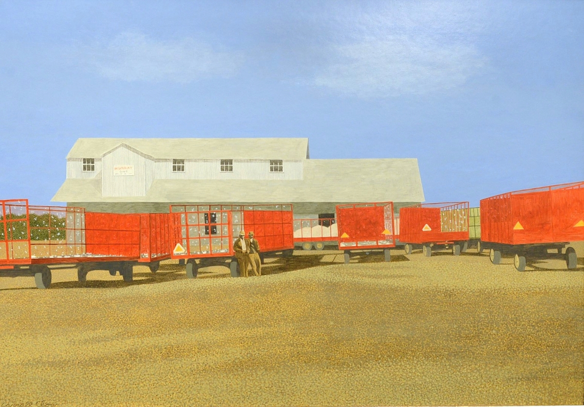 """Carroll Cloar (American, 1913-1993) """"Trailers at the Gin,"""" acrylic on Masonite, signed lower left """"Carroll Cloar,"""" titled and dated """"March 1972"""" on the reverse, commanded $70,725."""