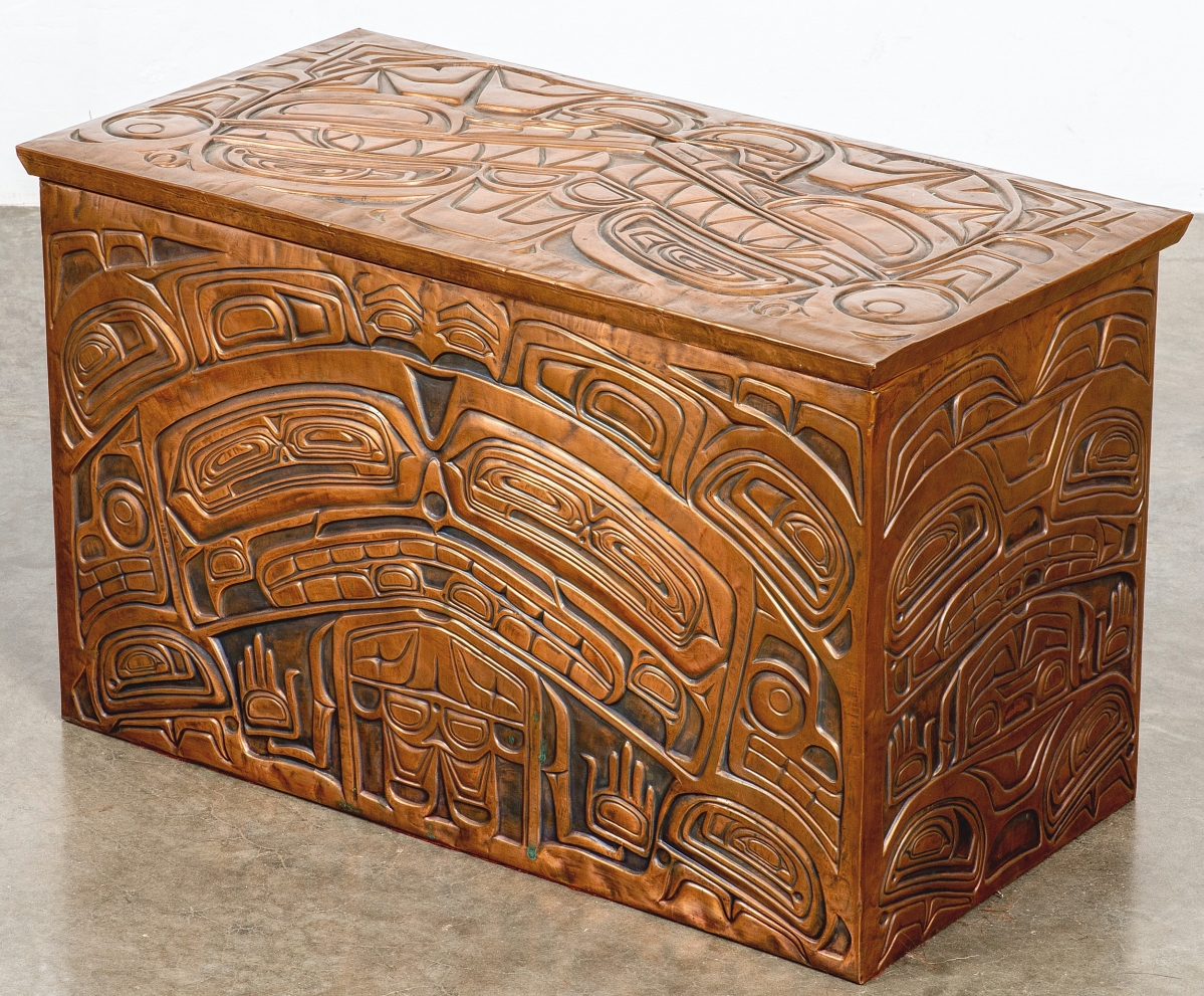 Contemporary maker Richard Dicks is a master of the copper-clad box. A member of the Bella Coola Nation, Dicks infuses a Kwagiulth style of carving into his signature works. This box measured 24 inches across and brought $5,103.