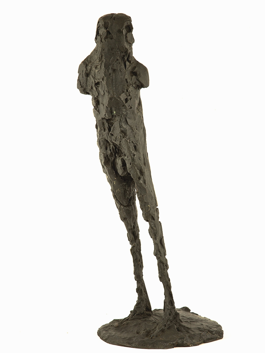 """The top sculpture highlight at $51,600, more than five times its high estimate, was Dame Elisabeth Frink's, R.A. (British, 1930-1993) """"Birdman I."""" The 21-inch-high bronze, edition 1/6, depicting an elongated, armless human figure standing at a tilt, exemplified the sculptor's fascination with the human form, especially falling figures and winged men."""