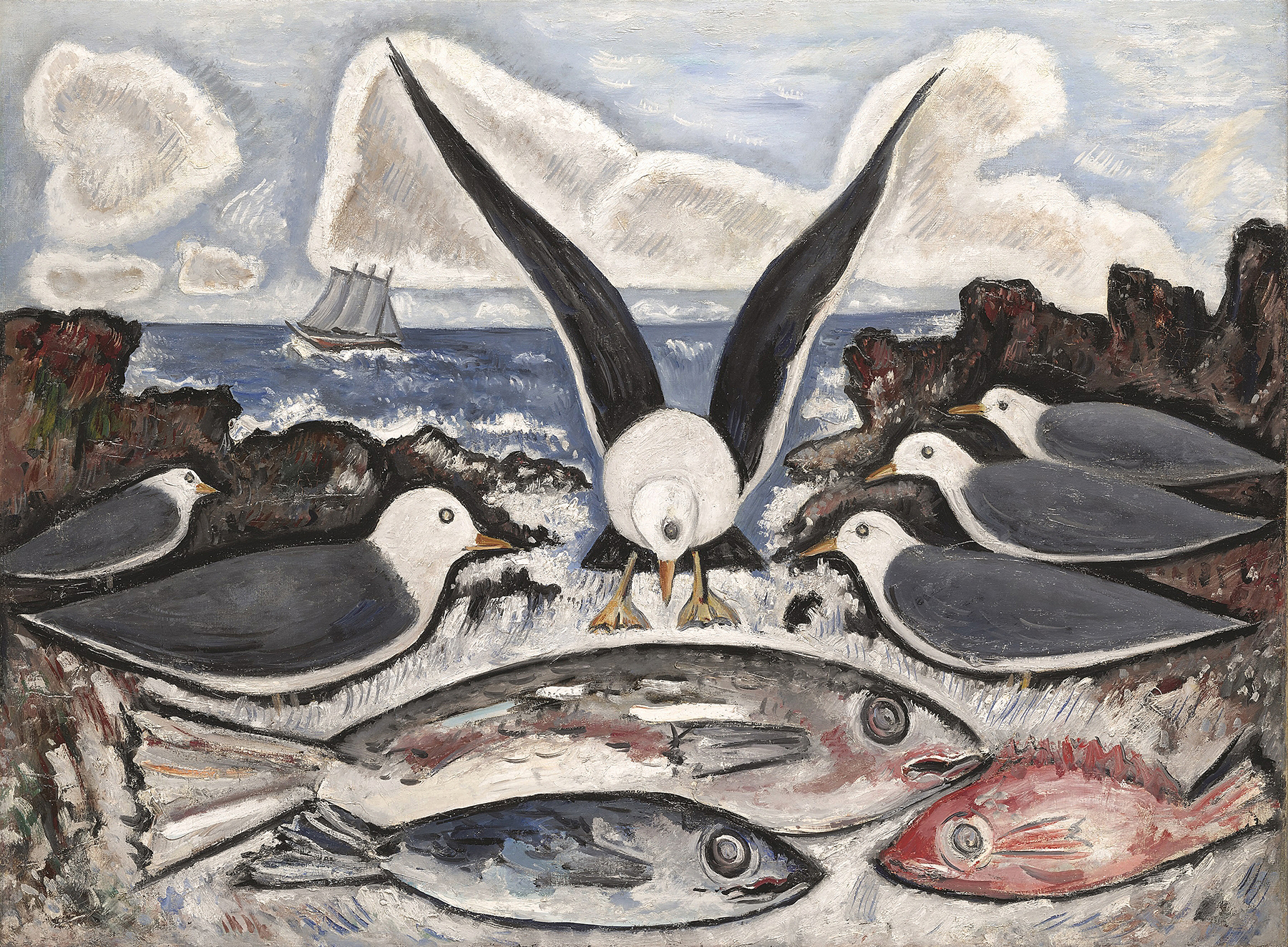 """""""Give Us This Day"""" by Marsden Hartley, 1938. Oil on canvas. Lent by Art Bridges."""