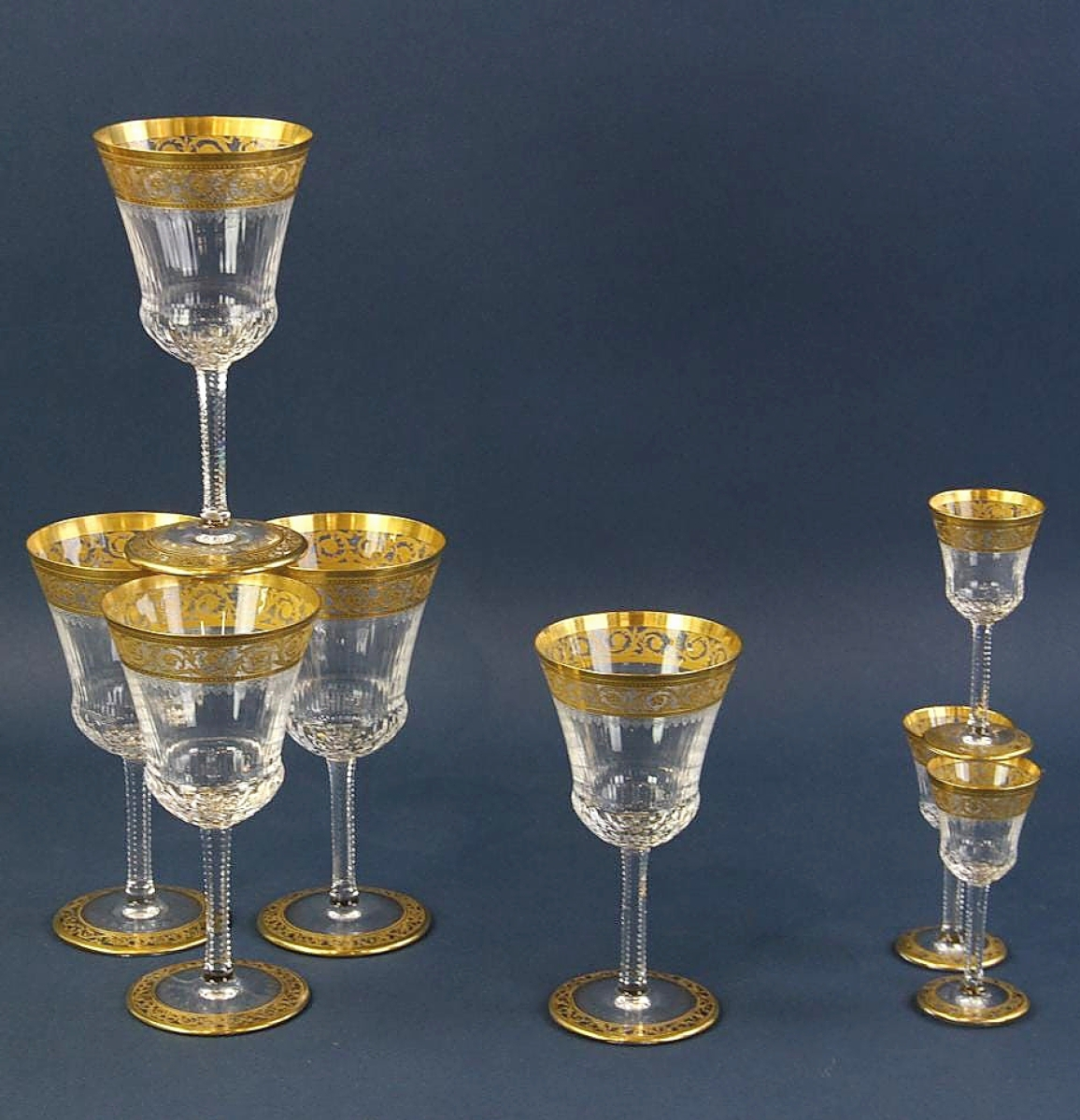 A wide selection of stemware used at the Ford mansion for entertaining was sold in large lots. Forty-seven pieces of gold-rimmed stemware by Moser earned $7,200.