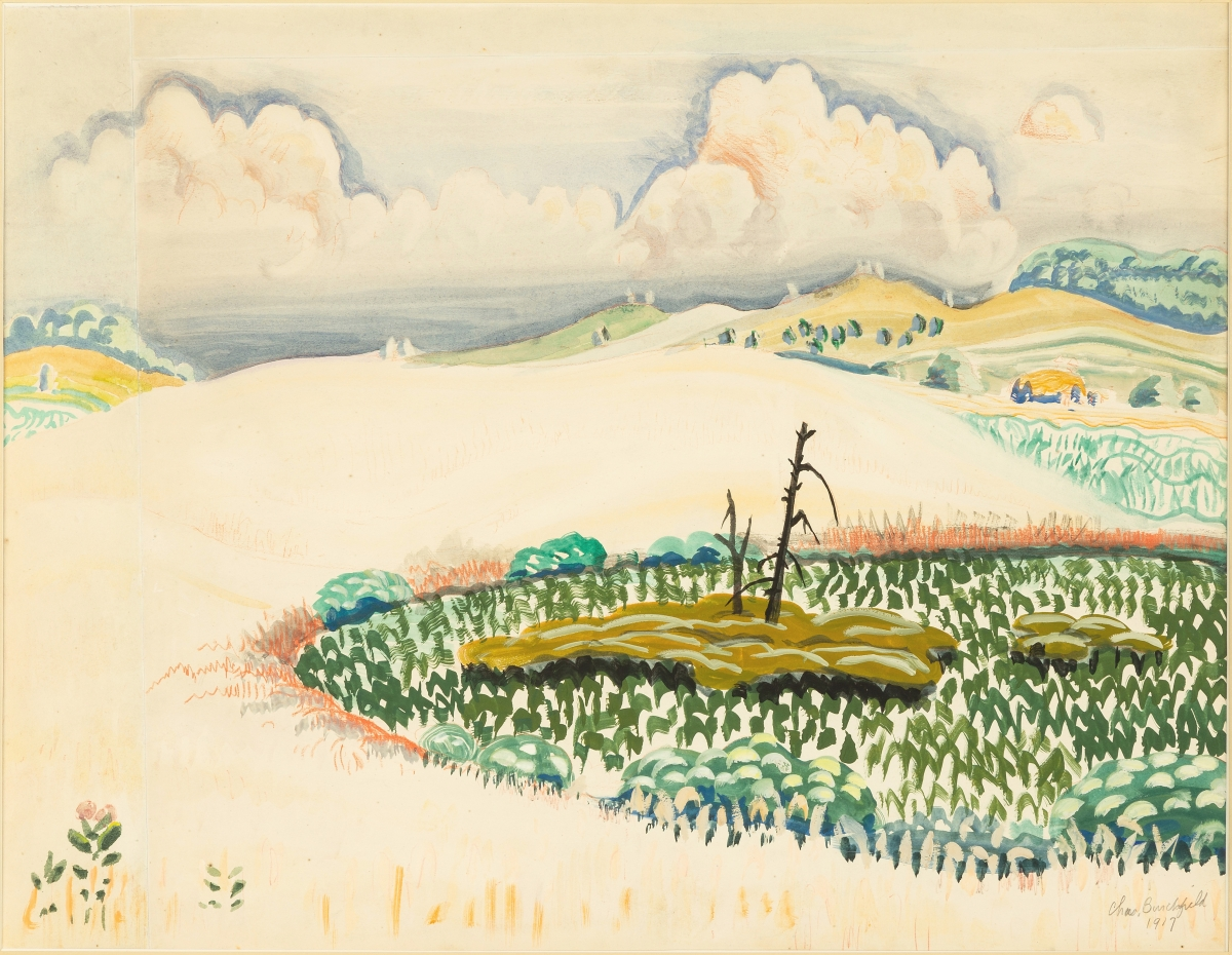 """Signed and dated """"Chas Burchfield 1917"""" lower right, """"Oat Field"""" by Charles Ephraim Burchfield (American, 1893-1967) had an exhibition history at the Albright-Knox Art Gallery, Buffalo, N.Y., in April/May 1962. The watercolor and gouache over graphite on paper bested its $15,000 high estimate to finish at $42,000."""