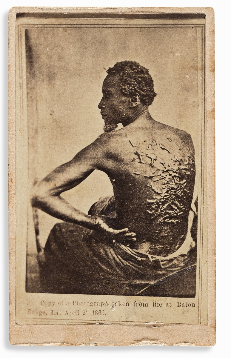 Selling for $21,250 was a second-generation CDV of one of the most iconic images of slavery. After repeated beating and whippings at a Louisiana plantation, Gordon escaped from slavery and made his way to a Union army camp at Baton Rouge, where he joined the Army as a private. A camp photographer took a series of photographs, of which this became the best known. It appeared in a July 1863 issue of Harper's Weekly.