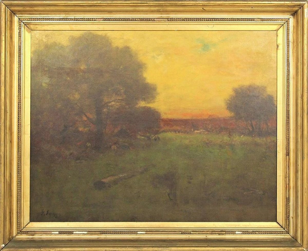 An ethereal oil on canvas landscape with diffused light and softly defined forms signed George Inness (American, 1825-1894) was bid to $12,100.