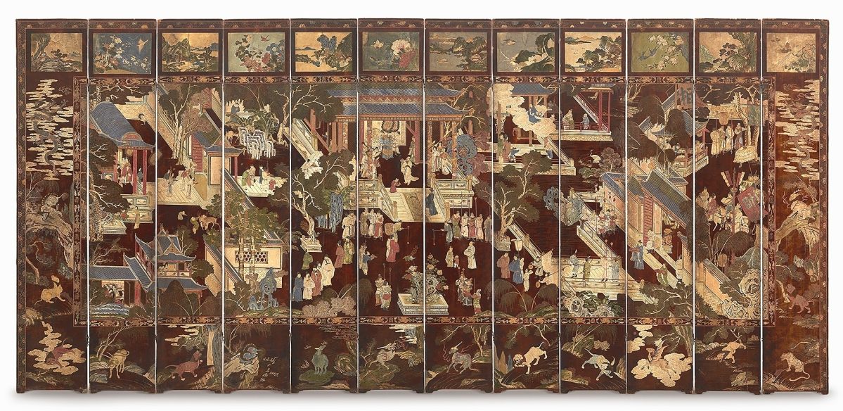 """""""That was a really fantastic example and I'm thrilled it did so well,"""" Ben Farina said of this Seventeenth or Eighteenth Century Chinese carved 12-panel coromandel folding screen. It was finely executed and in very good condition. Competition was stiff and it sold to an international phone bidder for $85,050 ($20/30,000)."""