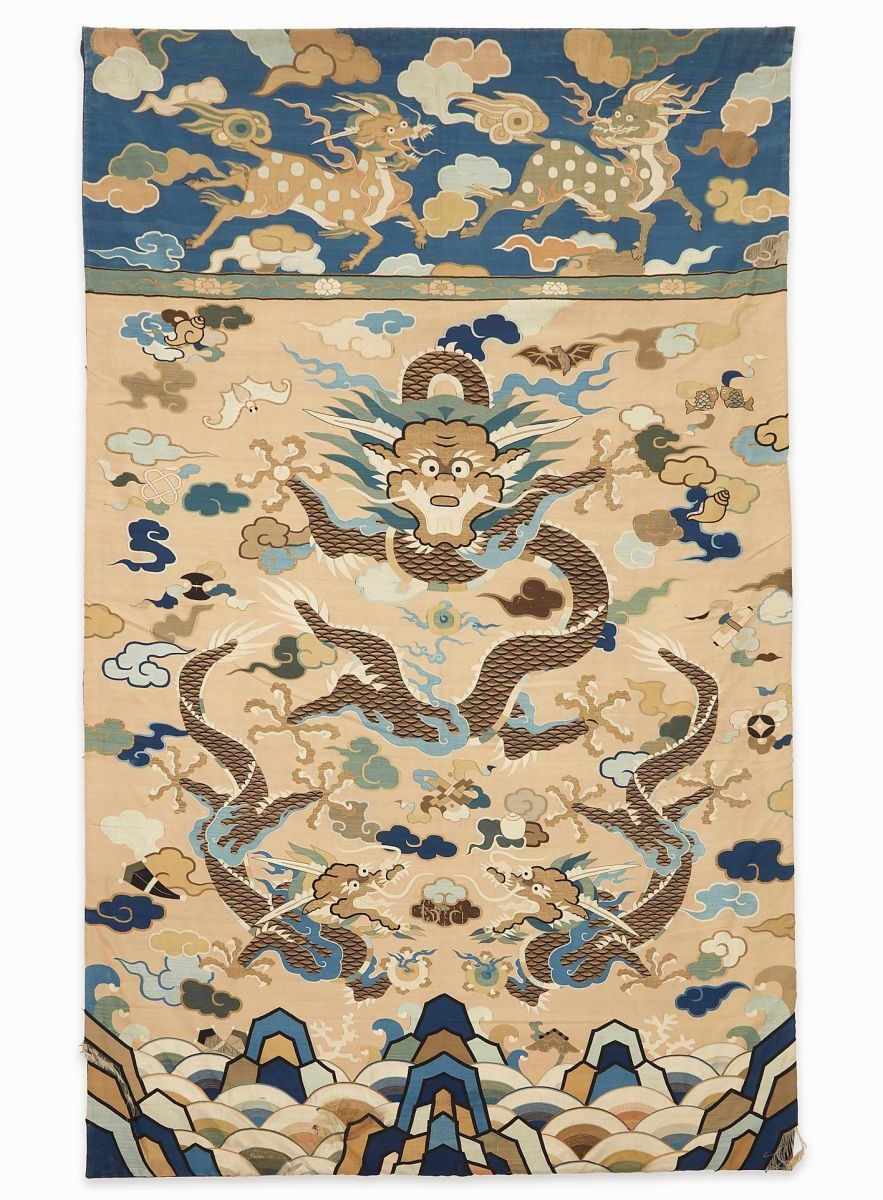"""""""It was very grand in scope,"""" Ben Farina said of this large kesi tapestry """"Dragons"""" panel that had descended in the Cape Cod family that had been involved in the East India trade. It brought $63,000 ($12/15,000)."""