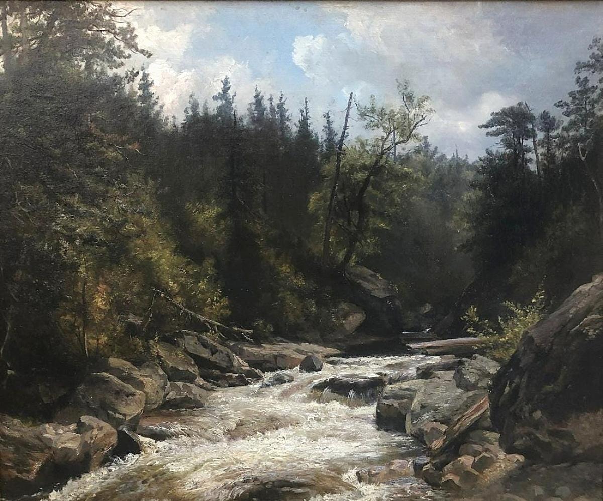 "Hendrik-Dirk Kruseman Van Elten's (1829-1904) ""The Ausable River, American Adirondack,"" earned $10,285."