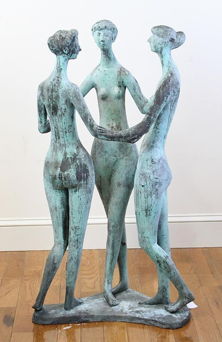 """Bringing $5,700 was a 41-inch-tall bronze sculpture group of """"Three Graces."""""""