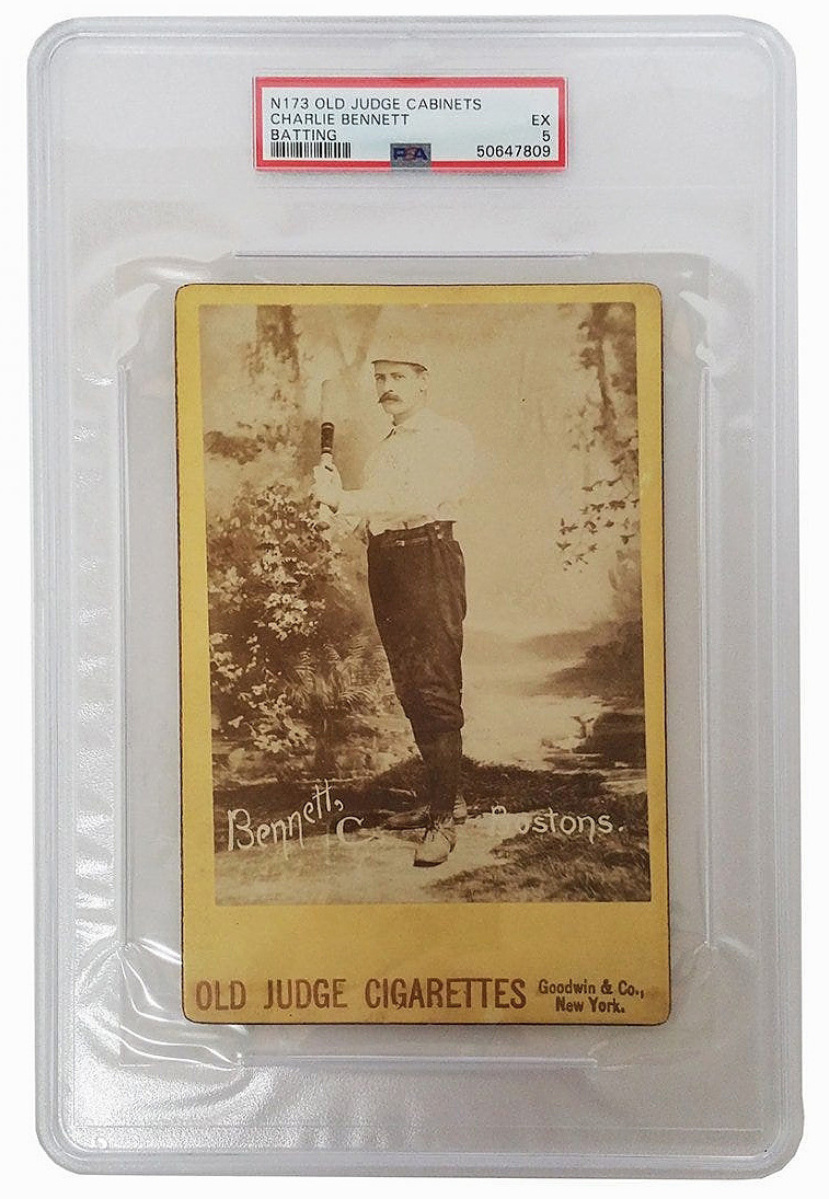 Charlie Bennet is credited with developing the first catcher's chest protector, which he wore under his uniform. His cabinet card, released by Old Judge Cigarettes, was graded PSA 5 and sold for $3,690.