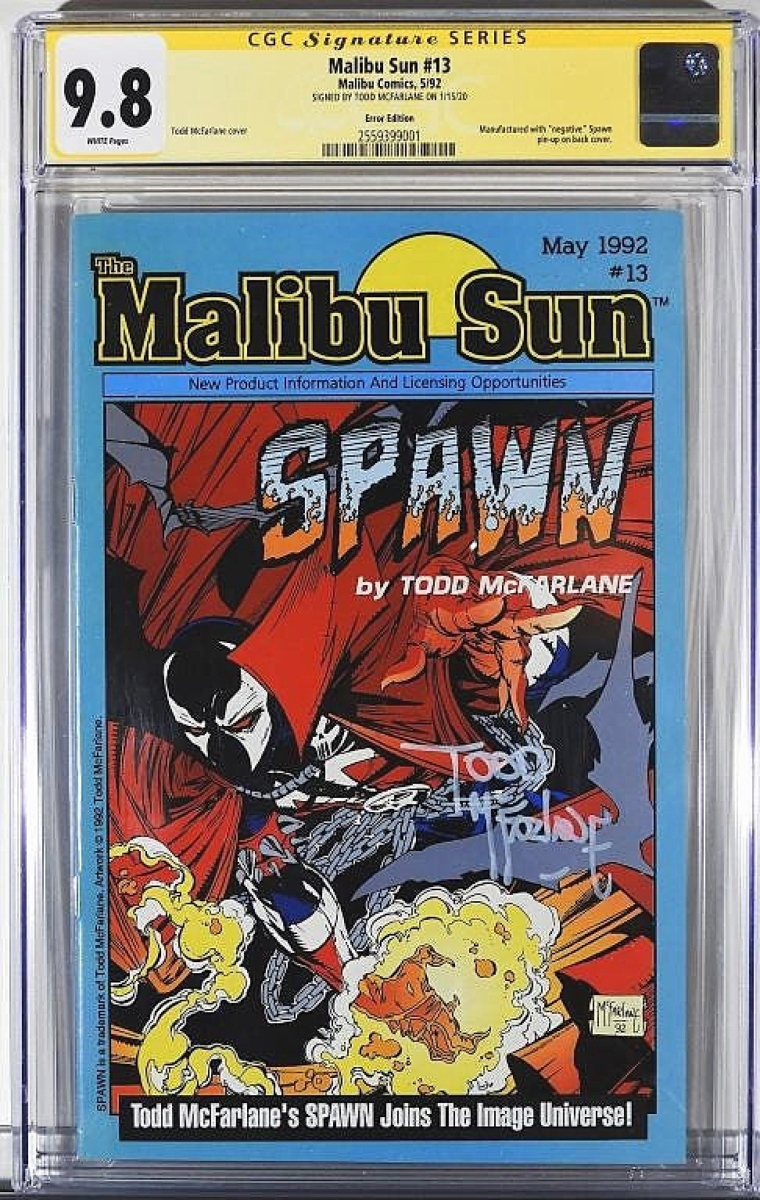 """""""For an independent comic in today's market, we got an unheard of result,"""" Landry said of this The Malibu Sun #13, which went out at $12,000. Graded CGC 9.8, Landry said only two or three issues exist in any grade as the publications are sparse."""