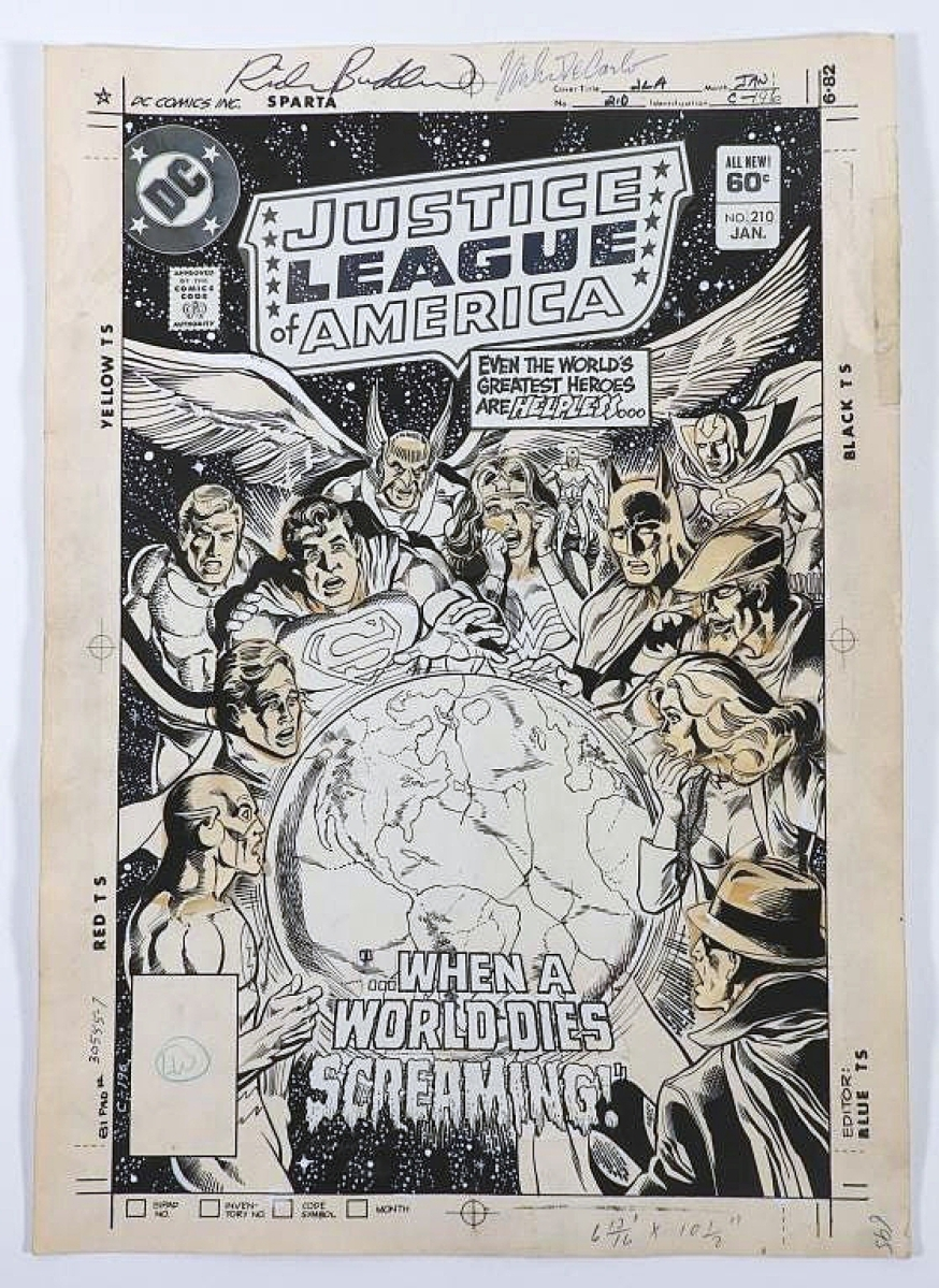 Original cover art by Rich Buckler for DC Comics' Justice League of America issue #210 went out at $9,900.