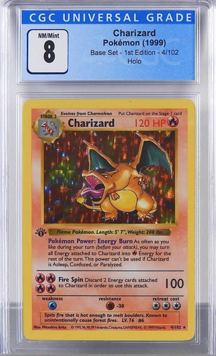In a CGC 8 grade, a 1999 Pokémon Charizard from the base set, first edition, went out at $16,250.