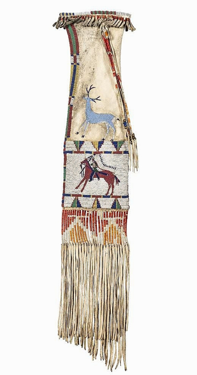 The sale's top lot was sold for $100,000 in a Cheyenne River pictorial tobacco bag attributed to Edith Claymore (Miniconjou, 1858-1910). Seen here is a beaded buck above a beaded warrior, the opposite side featuring a beaded doe above a beaded warrior. It was likely by the same hand of examples in the State Historical Society of North Dakota and the Denver Museum of Natural History.