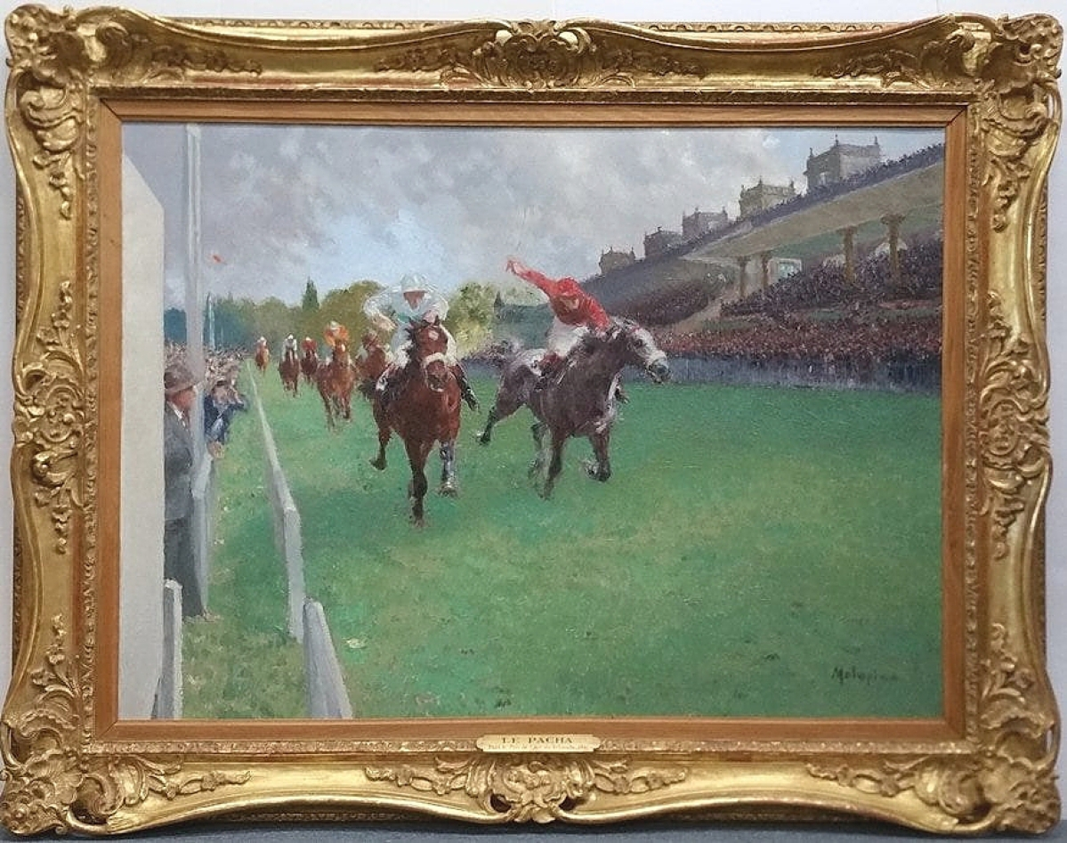 The sale found its lot leader at $4,366 with an oil on canvas by Louis Ferdinand Malespina (1874-1940). The image depicted the thoroughbred colt Pacha winning the 1941 Prix de l'Arc de Triomphe.