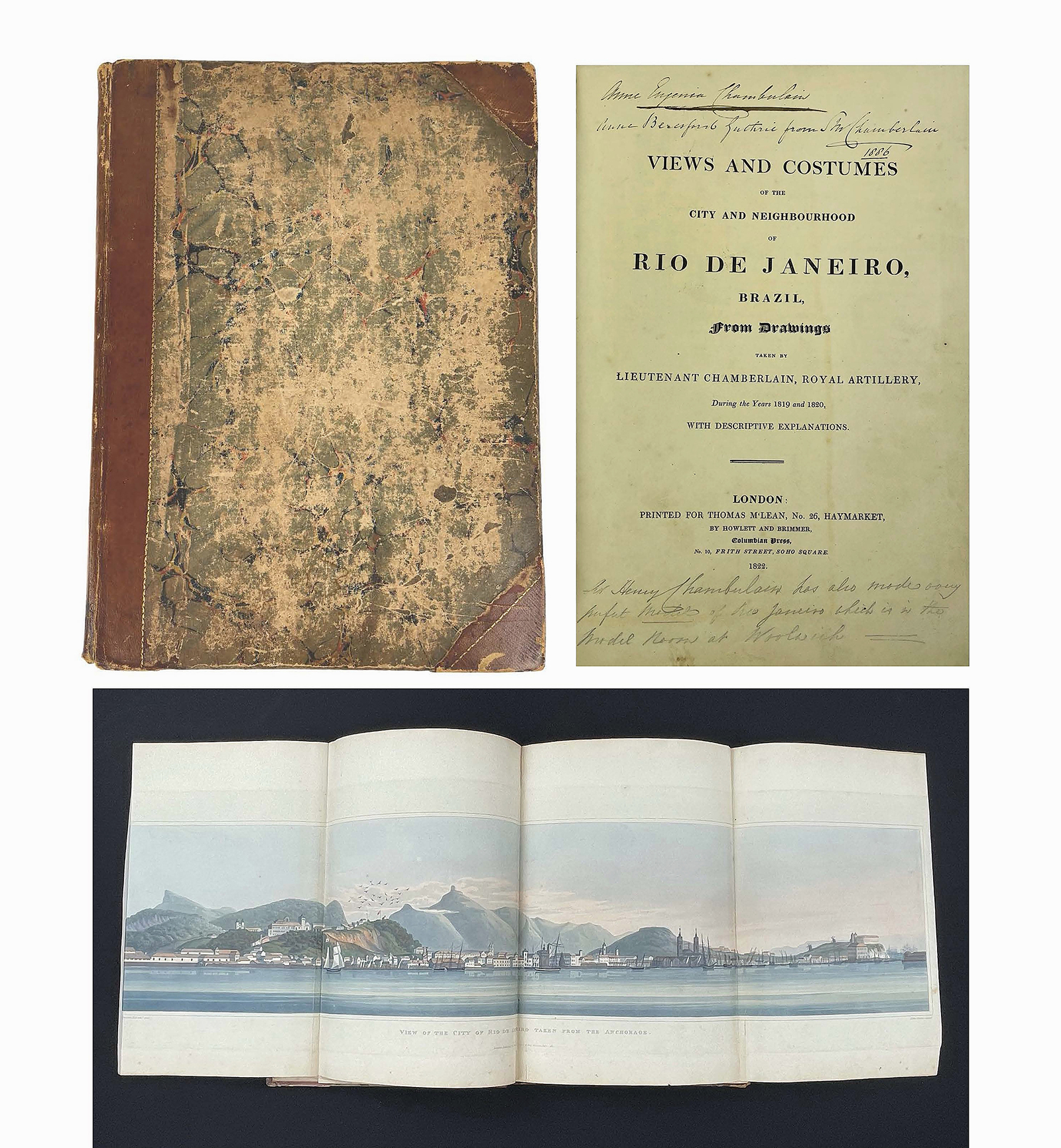 So popular were the panoramic folding plates depicting Rio's harbor in Lt. Henry Chamberlain's Views and Costumes of the City and Neighbourhood of Rio de Janeiro (London, 1822), that they often ended up being framed, which, coupled with the book's issuance in parts, made finding complete copies exceedingly rare. This first edition, with notation's by Chamberlain's stepmother, was the top lot in the sale. Complete with all 36 plates, it sold for $108,000.