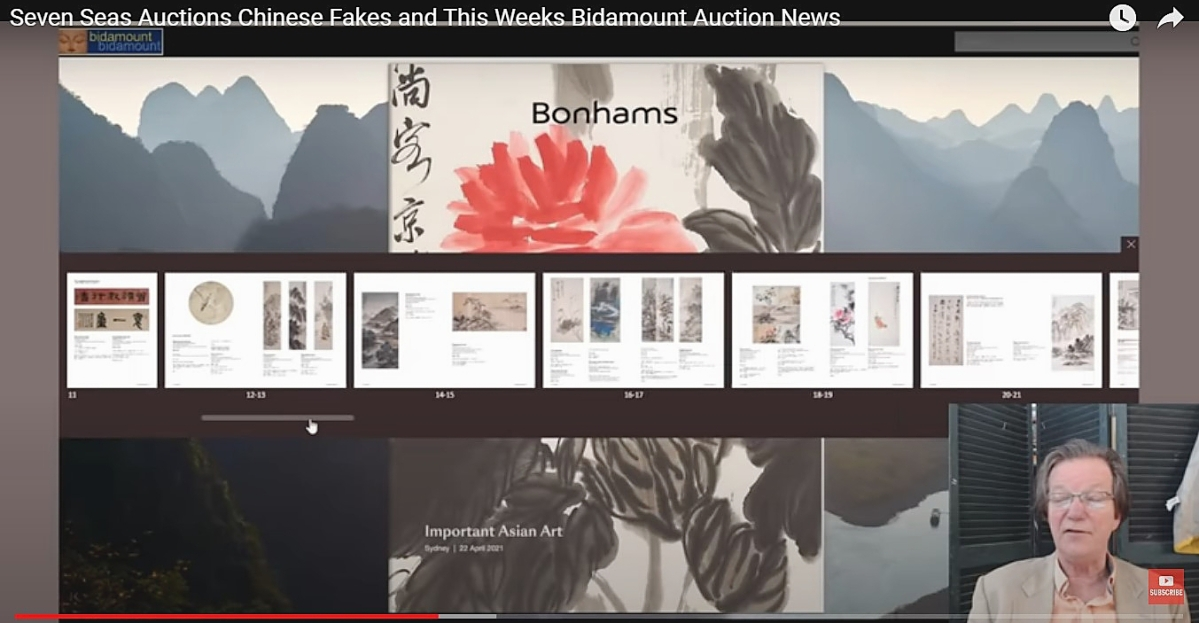 A screen shot from a video of Combs previewing one of several Asian sales being conducted   by Bonhams — and a short discussion of a Georgia auction house that he has identified to be   selling fakes — which was posted to YouTube on April 16.