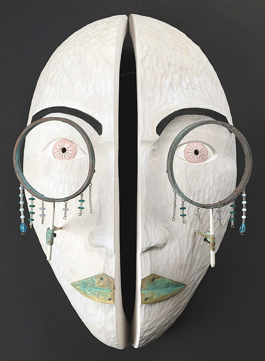 """""""Looking into My Beat"""" by Drew Michael, 2020. Basswood, patinated brass, acrylic, beads, wire. Collection of the artist. Qaumajuq at the WAG."""