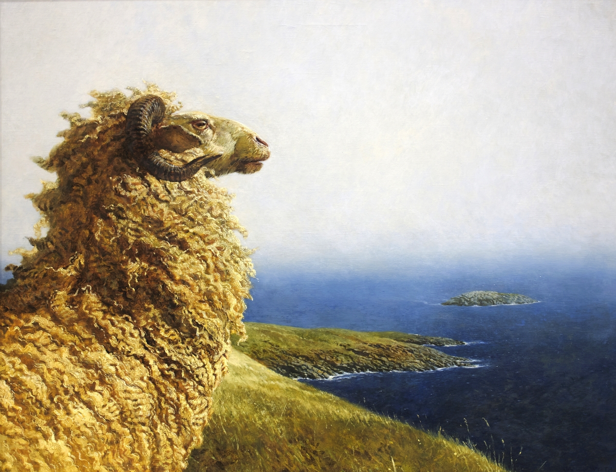 """James Wyeth, """"Islander,"""" 1975, oil on canvas, 34 by 44-  inches, Collection of the Farnsworth Art Museum."""