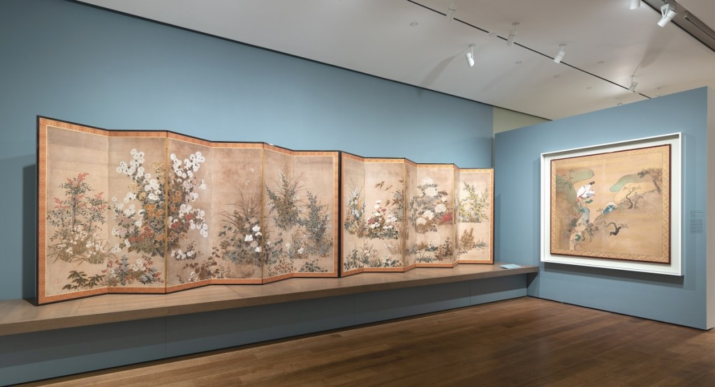 """Installation view of """"Flowers of the Four Seasons"""" in the exhibition """"Painting Edo:   Japanese Art from the Feinberg Collection"""" at the Harvard Art Museums. Photo: Mary Kocol;   ©President and Fellows of Harvard College."""