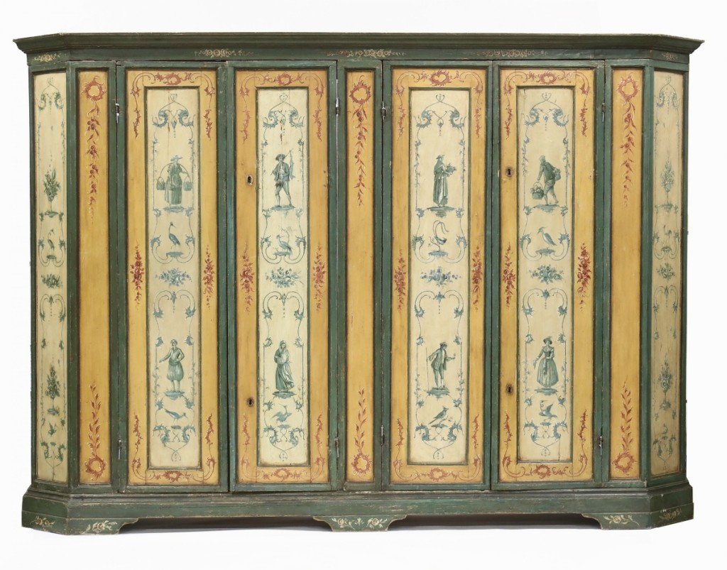 Leading the sale, and selling to a New England buyer for $6,000, was this large Nineteenth Century Italian paint-decorated armoire.