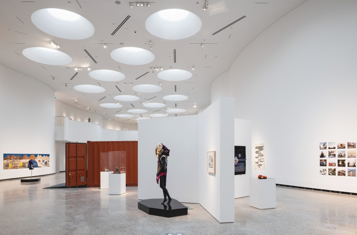 Qaumajuq's galleries feature abundant light and space. Inuit visitors to the museum have likened the skylights in the main gallery, Qilak, to igloo apertures and ice-fishing holes. Photo by Lindsay Reid. Courtesy Qaumajuq at the WAG.