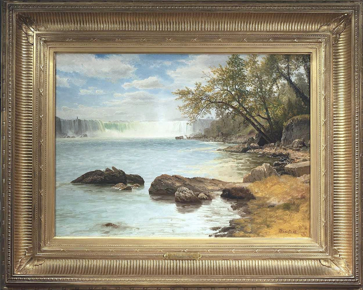 """Albert Bierstadt (1830–1902), """"Niagara Falls with Terrapin Tower."""" Oil on paper laid down on canvas, 20-  by 28 inches. Questroyal Fine Art."""
