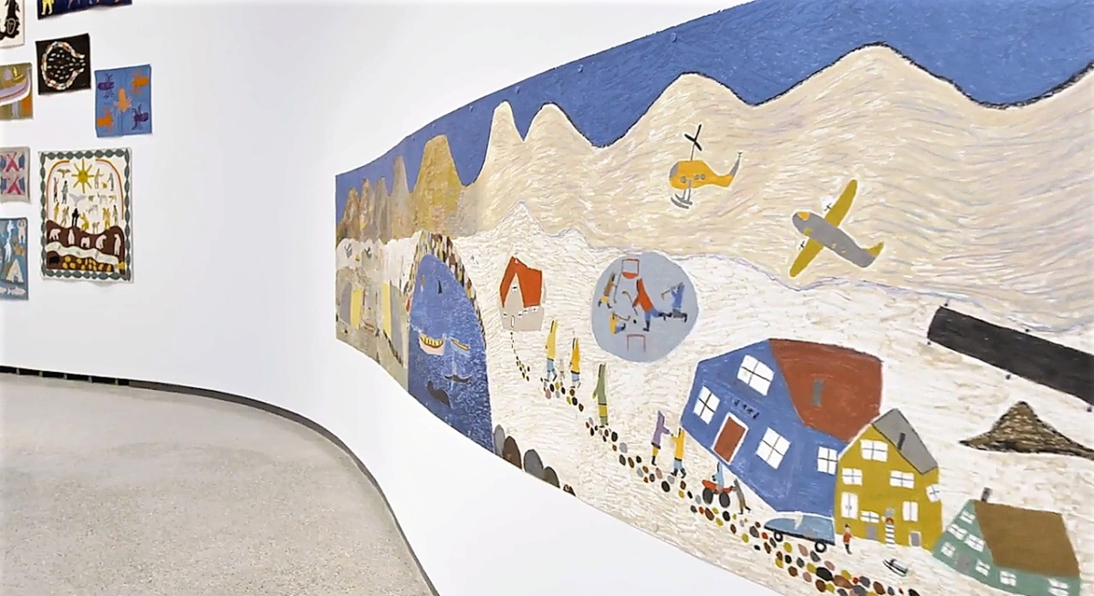 """""""Yesterday and Today,"""" right, a 2014 oil stick and graphite drawing on paper by Elisapee Ishulutaq (Pangnirtung, 1925-2018) is part of Qaumajuq's inaugural exhibition, """"INUA."""" Courtesy Qaumajuq at the WAG."""