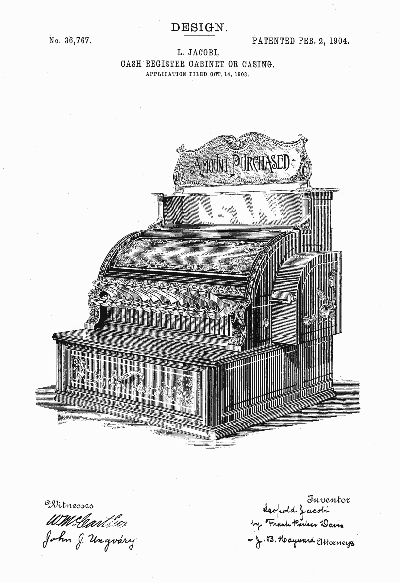Casing, Leopold Jacobi for the National Cash Register Company, 1903-04. Patent Number: USD 36,767, U.S. Patent Office.