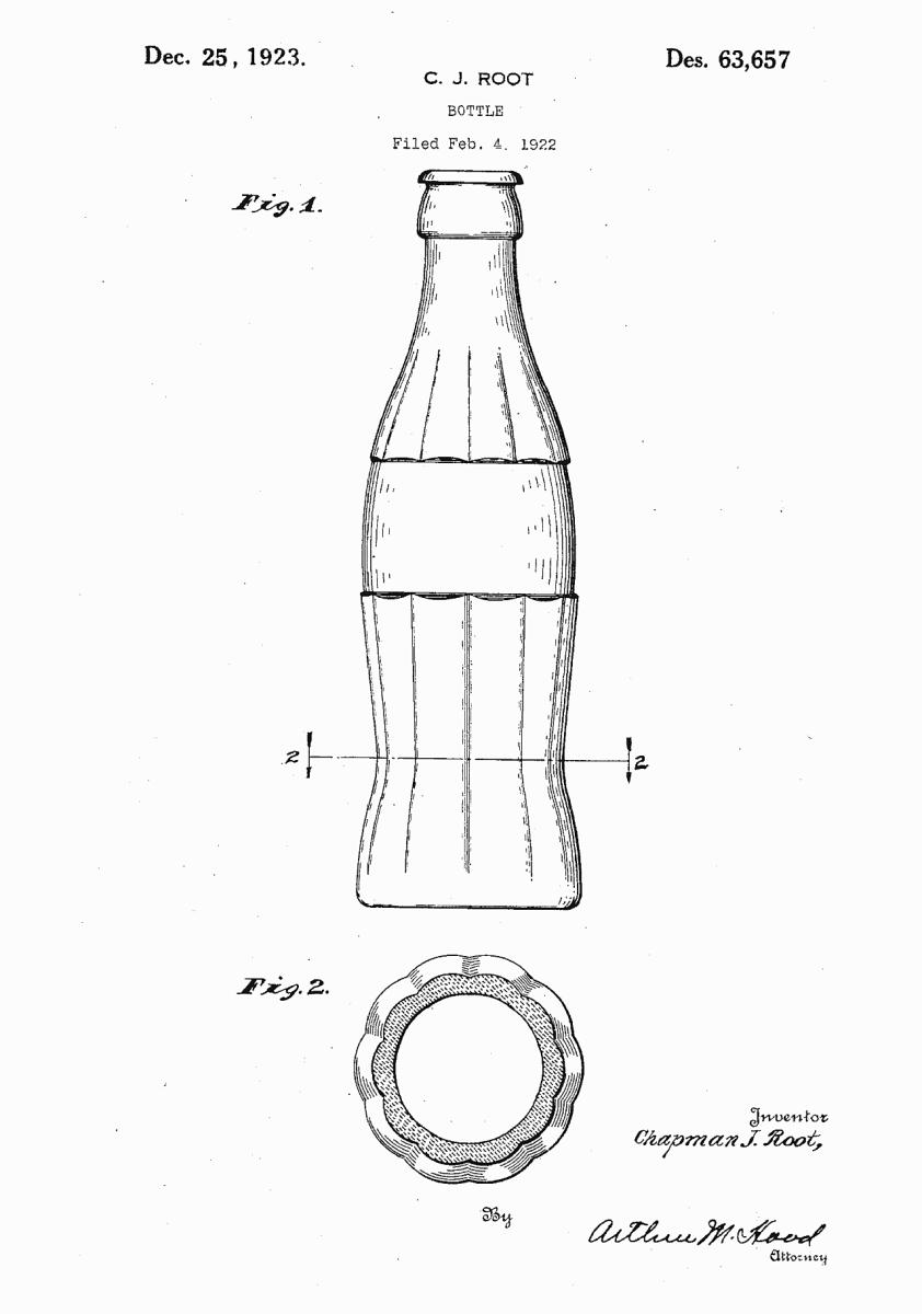 Bottle, Chapman J. Root, 1922/1923.   Patent Number: USD 63,657,   U.S. Patent Office.