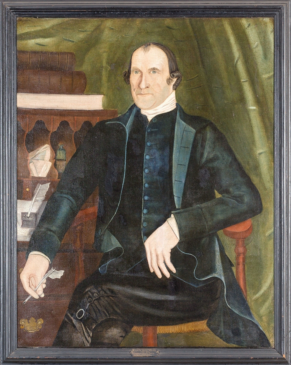 Portrait of Captain Amos Morris, attributed to Reuben Moulthrop, circa 1785-91, oil on canvas, courtesy New Haven Museum.