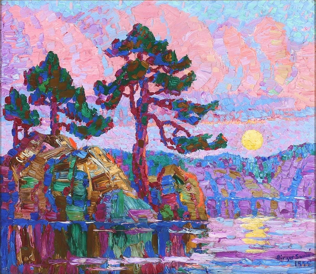 """The sale found its leader at $154,000 for """"Lake at Moonrise, Colorado"""" by Birger Sandzèn. The work, consigned from a Kansas collection and selling to a Kansas buyer, never strayed far from where it was made. Oil on board, 13½ by 15½ inches."""
